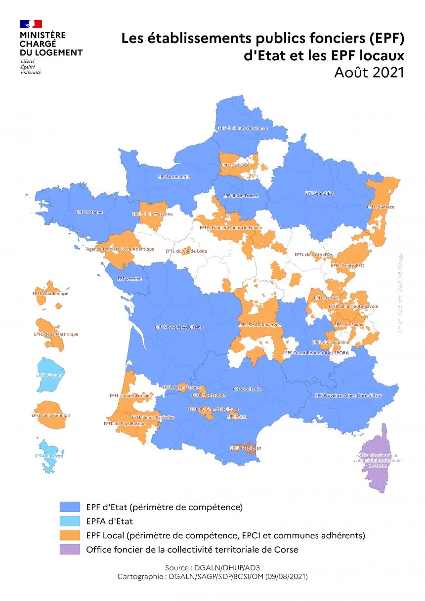 Etablissement public foncier - carte 2020